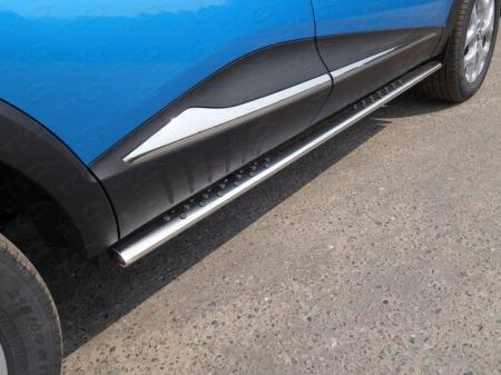 Renault Kaptur 2016- Пороги овальные с проступью 75х42 мм